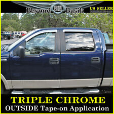 04-08 FORD F150 SuperCrew Chrome Door Visors Vent Window Side Shade Rain Guards