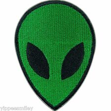 Alien UFO Head Green Space Spacecraft Saucer Roswell Kids Iron On Patches #0235