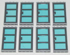 LEGO LOT OF 8 TRANSPARENT LIGHT BLUE GLASS GREY DOOR FRAME WINDOWS TOWN