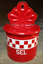 Red Check Old French Enamelware Sel / Salt Container