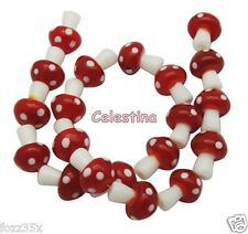 10 x 14mm Red & White Glass Fairy Mushroom / Toadstool Lampwork Beads - GB51