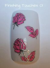 Flower Nail Art Sticker- 3D Metallic Silver Pink Decal #355 TJ031 Transfer Wrap