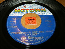 THE SUPREMES - EVERYBODY'S GOT THE RIGHT TO LOVE  / LISTEN - POPCORN MOTOWN