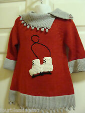 ZACKALI 4 KIDS GIRLS SIZE 2 RED & GRAY SWEATER DRESS-ICE SKATES-CROCHET LOOK