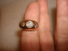 VTG 2.2 CARAT 3 STONE DIAMONDS 14K GOLD WEDDING MEN'S GYPSY BAND RING SIZE 13.5
