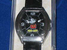 DISNEY Parks MICKEY MOUSE WATCH moves hands Black & Silver Leather band - NEW