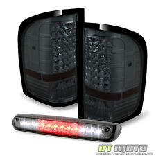 Smoke 2007-2013 Chevy Silverado 1500 2500HD LED Tail Lights+LED 3rd Brake Lamp
