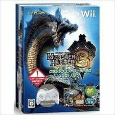 Used Wii Monster Hunter Tri - Classic Controller Pro Bundle White Japanese Versi