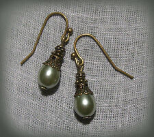 BRONZE FILIGREE SEAFOAM SAGE GREEN PEARL TEAR DROP EARRINGS VICTORIAN EDWARDIAN