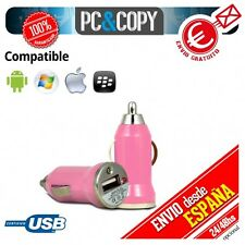 Cargador mini mechero coche USB 1A para movil tablet rosa car 12-24v 1000mA