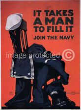 Takes Man Fill It Join The Navy WWI US Vintage Poster 18x24