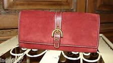 COACH VINTAGE BORDEAUX RED SUEDE BUCKLE CLUTCH ~ RARE HTF ~ MINT!!!!