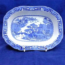 Antique Spode Blue & White Transfer ware Flying Pennant Patt. Bridge Dish c 1814