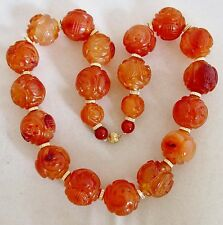"16"" Chinese Carved Orange Carnelian Agate 20.5mm Bead Necklace w/ 14K Gold"