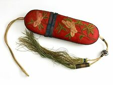 Antique Chinese Silk Embroidered Spectacle  Case Qing Dynasty Eyeglasses Case