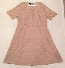 TALBOTS Women's Beige Short Sleeve Lined Floral Lace Dress Size 18   NWT $189