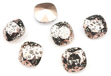 4 Rose Patina 4470 Swarovski Crystal Square Cushion Cut Stone Foiled 12Mm