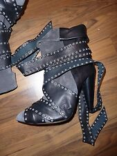 ISABEL MARANT Grey Suede and Black Leather Allen Boots FR39 EUR38