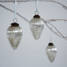 Antique Effect Glass Teardrop Christmas Bauble - Set Of Three