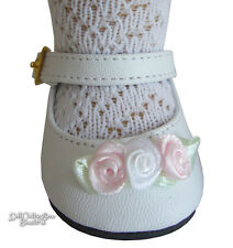 "Pink & White Rosebud Shoes for 18"" American Girl Doll Clothes Accessories"