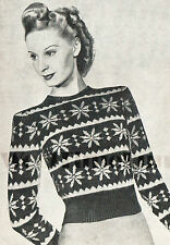 Vintage Knitting Pattern 1940s Lady's Fair Isle Jumper. Snowflake Christmas.
