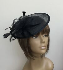 New Black Disc Hat Fascinator Mother Of The Bride /Groom wedding Races Ladys Day