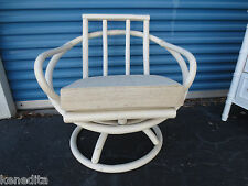 Atomic Age Bamboo Clam Round Chair Swivel Cottage Shabby Chic Hollywood Regency