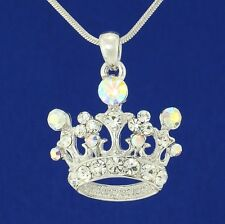 "Crown W Swarovski Crystal Royal Princess King Queen New AB Pendant 18"" Chain"