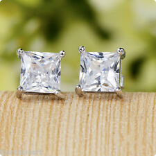 PAIR MENS WOMEN EAR STUD EARRINGS - Boys Womens Girls Clear Gem 925 Silver Studs
