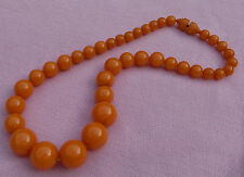 Vintage Antique Art Deco Baltic Egg Yolk Amber Bead Strand Choker Necklace 34 Gr