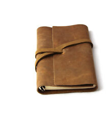handmade loose leaf  genuine leather Journals notebook gift blank diary yellow