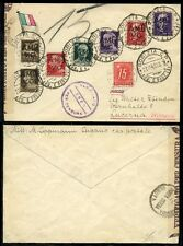 ITALY 1945 PATRIOTIC ENVELOPE CENSOR + SWISS POSTAGE DUE + 7 stamps franking AMG
