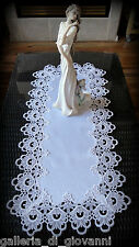 """Lace Table Runner Dresser Scarf DECADENT WHITE 36""""  Doily Dainty Flower"""