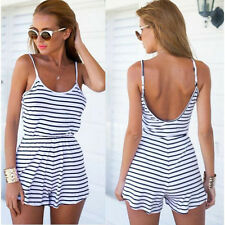 Summer Womens Sexy Striped Bodycon Evening Club Beach Party Short Pant Jumpsuit