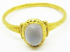 Excavated Medieval Gold & Rock Crystal Finger Ring c. 12th - 13th century A.D