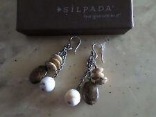 SILPADA Sterling Silver Wood & Quartz  Dangle Earrings
