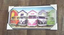 CADRE 3D PVC PARKING COMBI PLAGE VOLKSWAGEN VW CAMIONNETTE RETRO DECO ANTIQUE