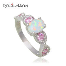 OR770#6 Wonderful Pink Zircon White Fire Opal Silver Stamped Jewelry  Rings