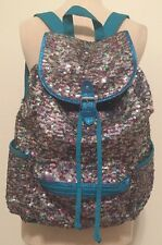 Justice Rainbow Sequin Glitter Turquoise Bright Blue Sparkle Bling Backpack Bag