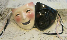 porcelain mardi gras theatrical face masks wall hangings laugh now cry later
