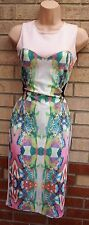AYANAPA PINK GREEN MULTI COLOR ABSTRACT BANDAGE MESH SIDES BODYCON DRESS 8 S
