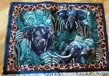 "1 Colorful ""Elephants in the Jungle Tapestry"" Pillow Top Fabric Panel"