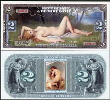 REPUBLIQUE DE NAKEDONIE 2 NUUDINARA RECLINING NUDE LADY FANTASY ART NOTE!