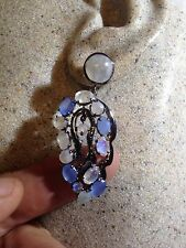 Vintage Real Rainbow Moonstone 925 Sterling Silver Chandelier Earrings