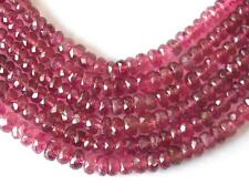 "17"" STRAND PINK TOURMALINE BEADS FACETED RONDELLE 3 - 4.5 MM GEMSTONE  #D3045"