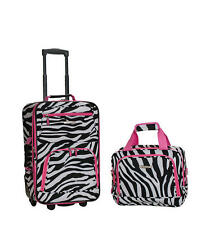 Rockland Rio Carry On 2 Piece Luggage Set Pink Zebra Soft Tote Tolietries Bag
