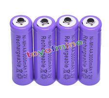 4x AA 3000 mAh de la batería recargable Ni-MH 2A púrpura para MP3/RC/Cámara