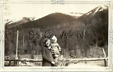 Vintage Large Real Photo- Mount Tacoma WA- Pretty Wife- Baby- Mountain- 1930s