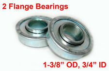 """TWO FLANGED BEARINGS 1-3/8"""" OD, 3/4"""" ID, LAWNMOWERS, CARTS, WAGONS AND MORE"""