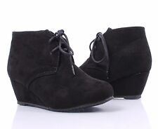Black Sexy Wedge Ankle Booties Lace Up Shoes Faux Suede Heels Boots Size 8.5